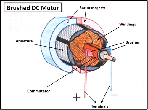 Cross-Section of a brushed DC motor