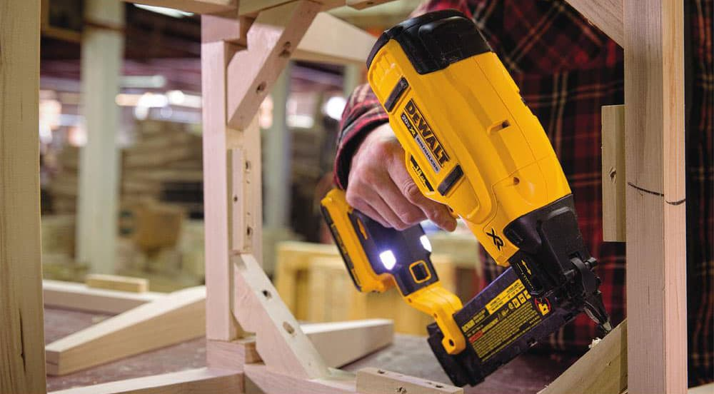 Cordless Dewalt brad nailer building furniture