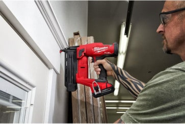 Cordless brad nailer by Milwaukee attaching door trim